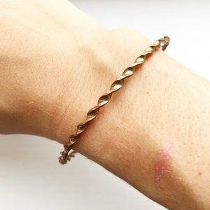 Vintage two-tone corkscrew bangle bracelet